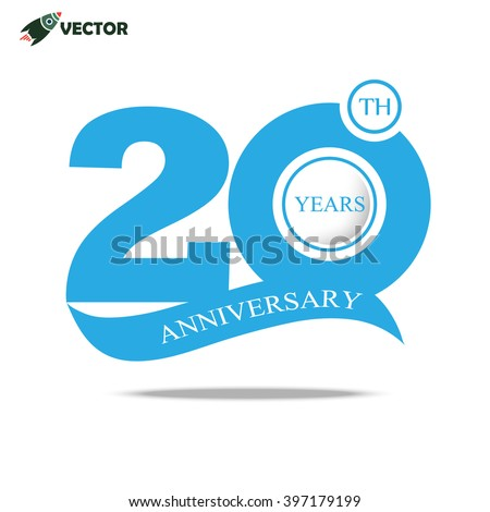 20th Years Anniversary Label Flat Icon Stock Vector 397179199