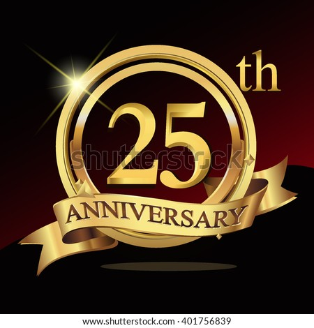 25th Years Golden Anniversary Logo Celebration Stock Vector