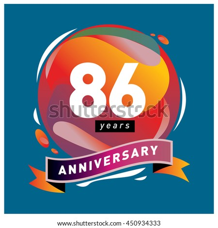 86th years greeting card anniversary with colorful number and frame. logo and icon with circle badge and background