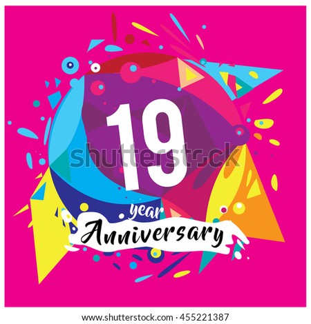 19th years greeting card anniversary with colorful number and frame. logo and icon with circle badge and background