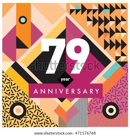 79th years greeting card anniversary with colorful number and frame. logo and icon with Memphis style cover and design template