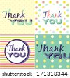 Thank You Card set - stock vector