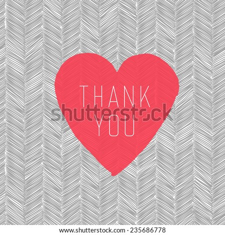 """Thank You"" Card with Heart Symbol on  Hand Drawn Pattern - stock vector"