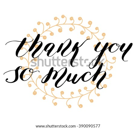 """Thank you"" hand lettering. Template for design. Vector illustration"