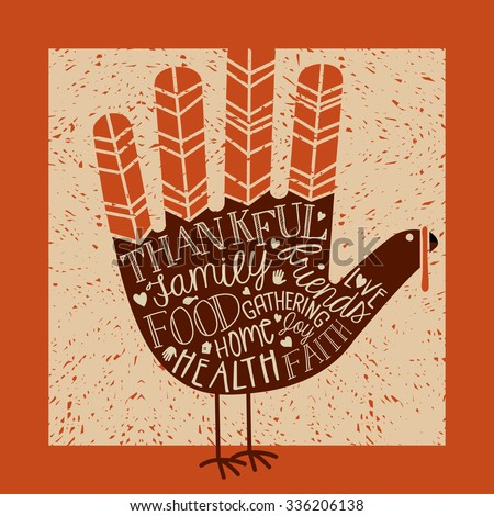 thanksgiving card design with theme message and cute hand print turkey - stock vector