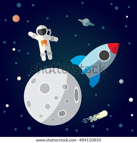 The astronaut and rocket on the moon background. Flat space theme illustration.