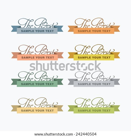 """""""The Best"""" sign icons. Certificate emblem labels. Vector illustration. Typography - stock vector"""