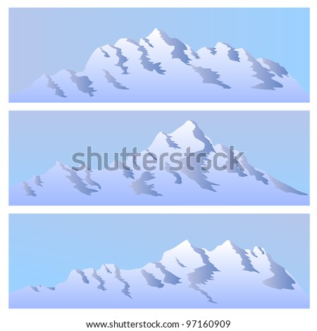 The bi-chromatic simple image of mountains for banners. - stock vector
