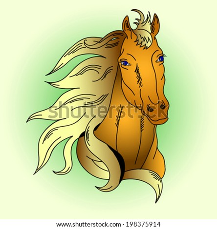the brown horse with the Golden mane vector