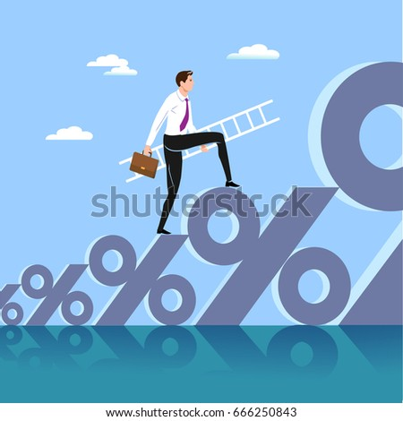 The businessman standing on a sign on percent and searching for growth of business.Vector