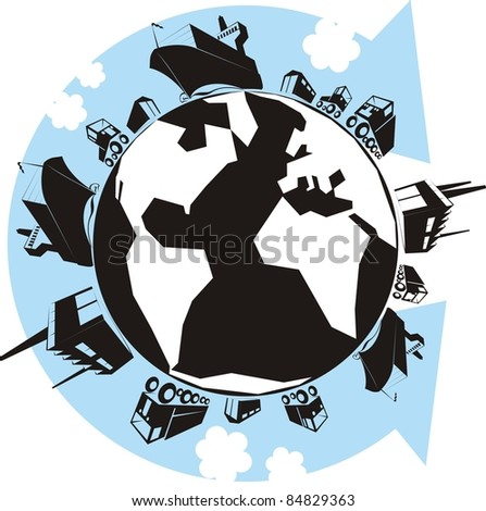 """The Cargo Planet"" color vector illustration - Earth with factories, warehouses, trucks, container ships, vans, cars and an arrow showing the supply chain - stock vector"