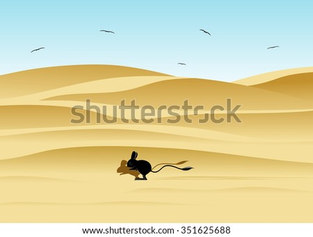 The desert and dunes, a jerboa and birds against the blue sky