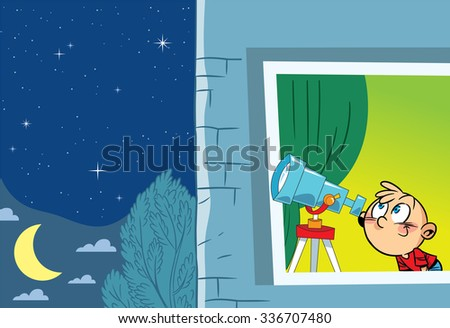 The illustration shows a young astronomer who observes from the window of the stars through a telescope - stock vector
