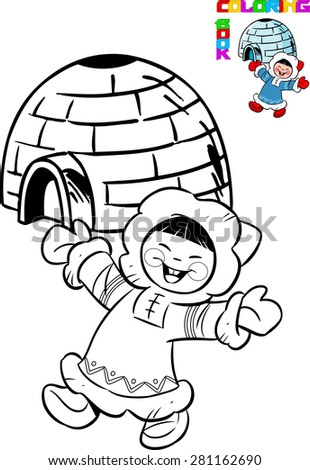 The illustration shows cartoon Eskimo in traditional dress on the background of the igloo. Illustration made in black outline for coloring book, on separate layers. - stock vector
