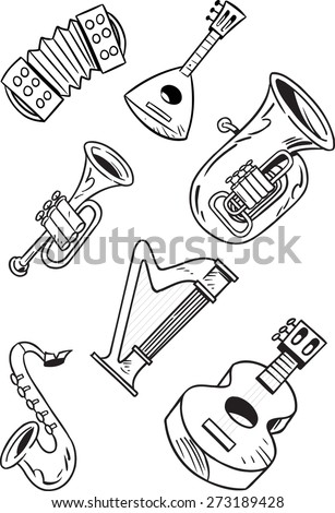 The illustration shows some string and wind musical instruments. Illustration done on separate layers, black contour, isolated on white background