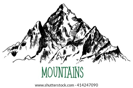 The mountains. vector drawing by hand.