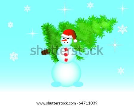 The snowman bears a green Christmas fur-tree a vector - stock vector