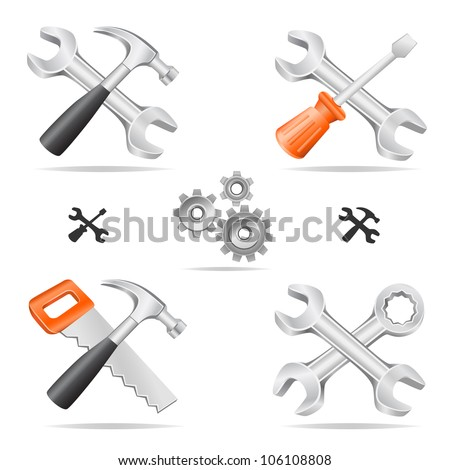 The tools icon set cross with each other isolated on a white background - stock vector