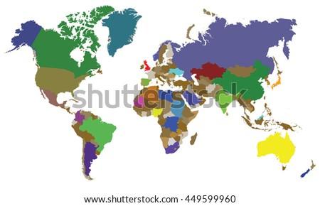 The Whole World Map Stock Vector 449599960 Shutterstock