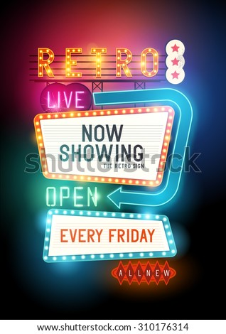 Theatre retro vector sign with glowing neon lights.  - stock vector