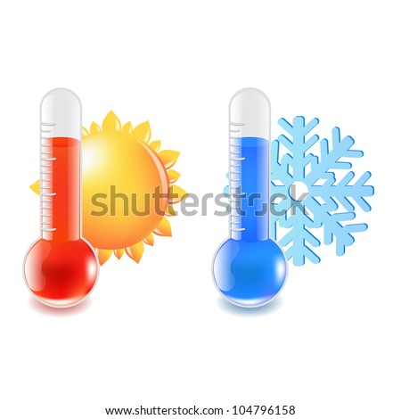 2 Thermometer Hot And Cold Temperature, Vector Illustration - stock vector