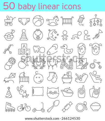 50 thin line baby icons set. - stock vector