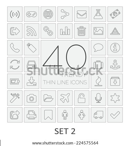 40 Thin Line Icons. Set 2. Vector illustration. - stock vector
