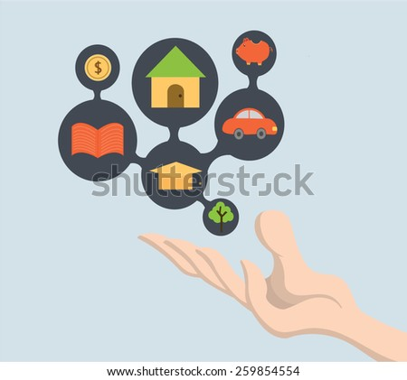 Think life future  with lines, circles and hand. Brain concept with education,home ,car ,save money ,make money icon ,hand present think possess and wanted  - stock vector