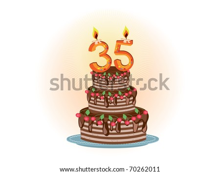 """"""" Thirty five years"""" - stock vector"""