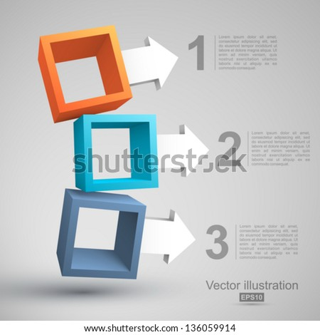 Three empty boxes with arrows 3D. - stock vector
