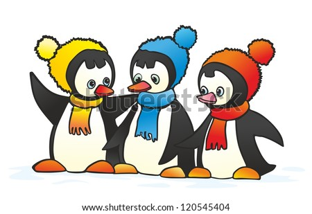 """""""three gay penguin in colorful hat and scarf"""" - stock vector"""
