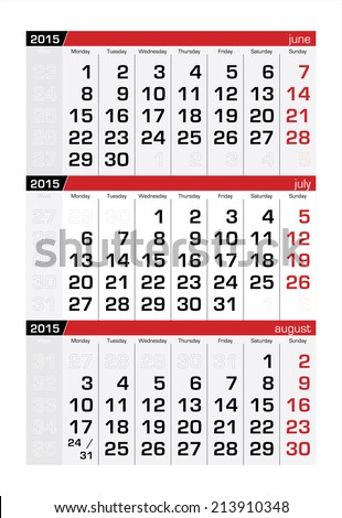 2015 Three-Month Calendar July - stock vector