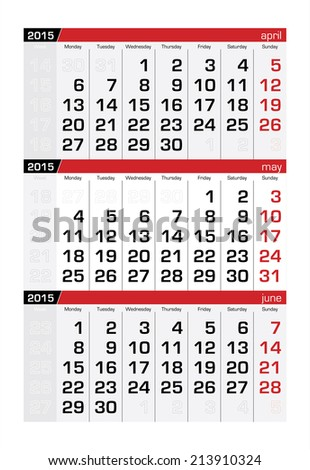 2015 Three-Month Calendar May - stock vector