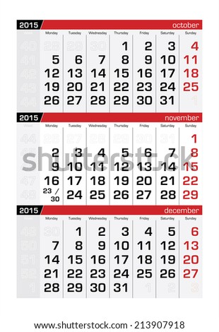 2015 Three-Month Calendar November - stock vector