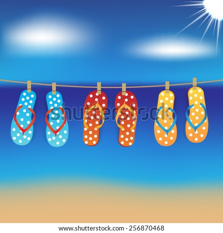three pairs of flip flops - stock vector