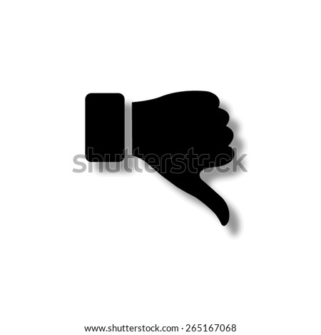 thumb down gesture  - vector icon with shadow - stock vector