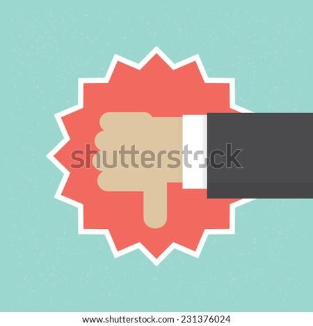 """Thumb down"" vector illustration - stock vector"