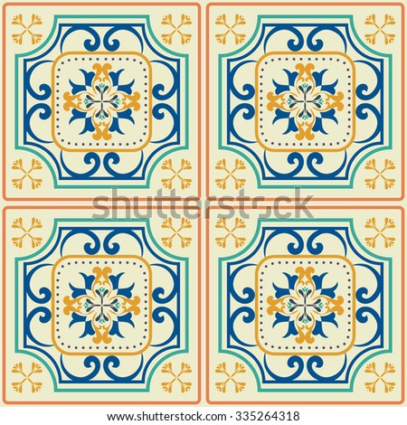 Tile pattern with  classic orange-blue colored ceramic tiles.  - stock vector
