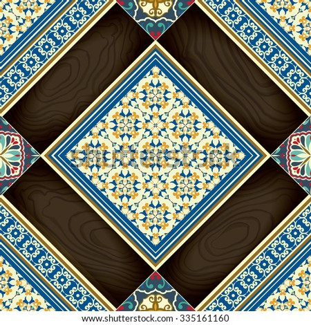 Tiles seamless pattern Wooden and classic colored ceramic tiles.  - stock vector