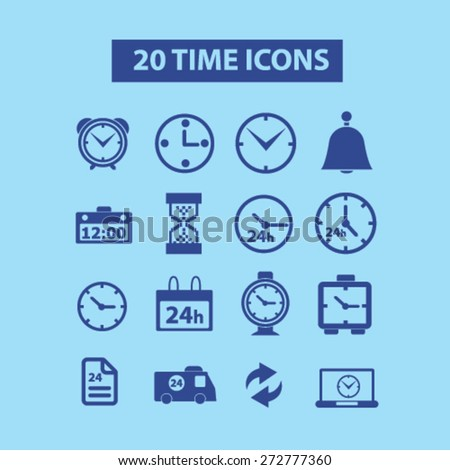 20 time, clock, hour, 24h icons, signs, illustrations set, vector - stock vector
