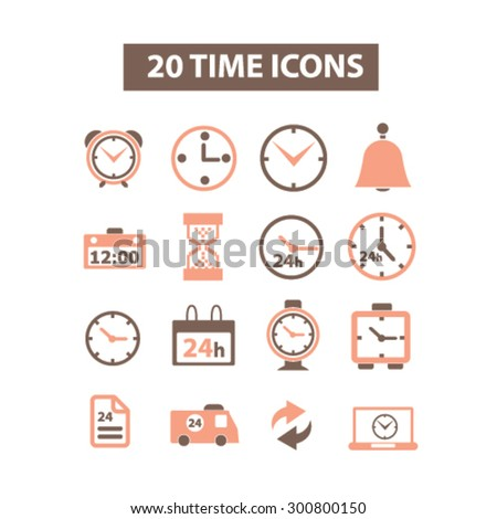 20 time, clock isolated flat icons, signs, illustrations set, vector for web, application - stock vector