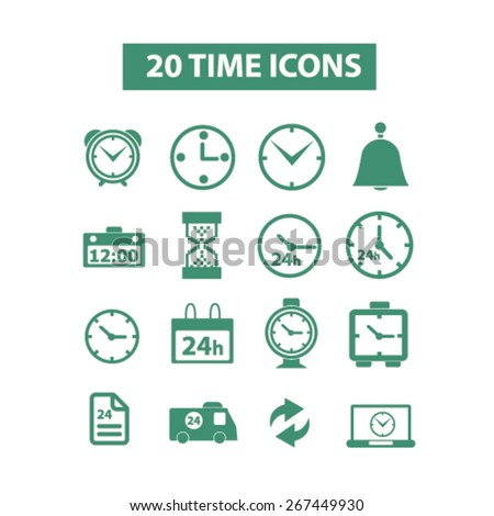 20 time, clocks isolated web icons, signs, illustrations concept design set, vector - stock vector