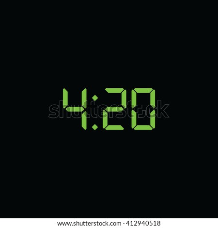 420 time quote. Digital clock icon. Weed marijuana vector icon.