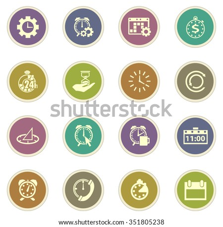 Time stickers label icon set