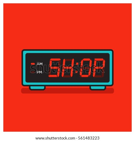 'Time to Shop' written on a retro alarm clock concept (Line Art in Flat Style Vector Illustration Design)