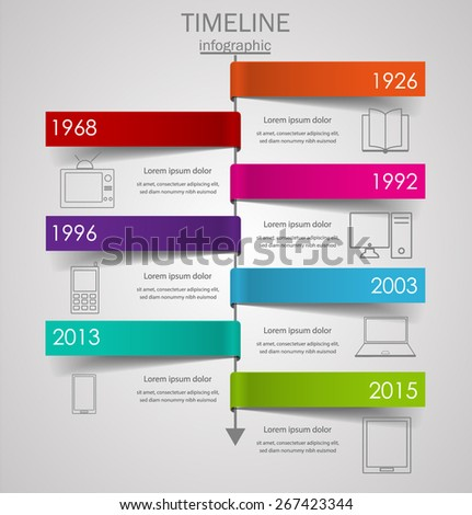 Modern Glass Timeline Design Template Vector Stock Vector