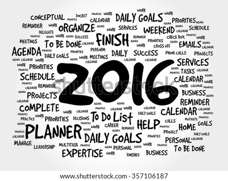 2016 TO DO LIST word cloud, business concept background