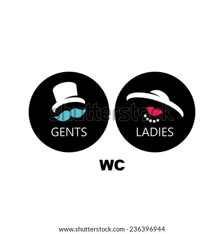 Toilets vector sign male and female toilets sign isolated on a white background - stock vector