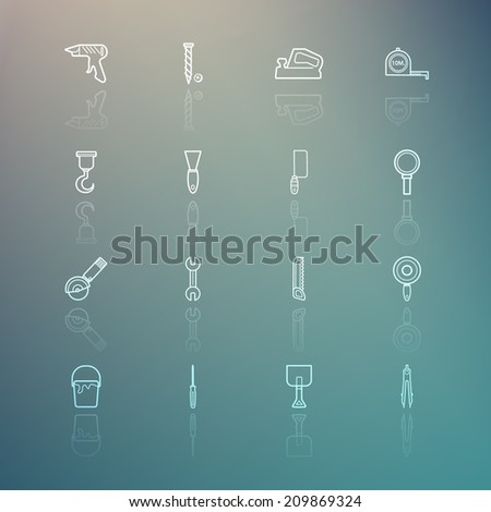 Tools icons on Retina background set.3 - stock vector