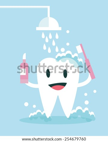 Tooth Brushing and take shower Itself. flat character design. vector illustration - stock vector